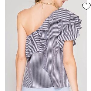 She + Sky Ruffled Navy Striped One Shoulder Top